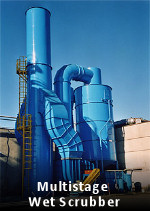 System of multistage wet scrubbers